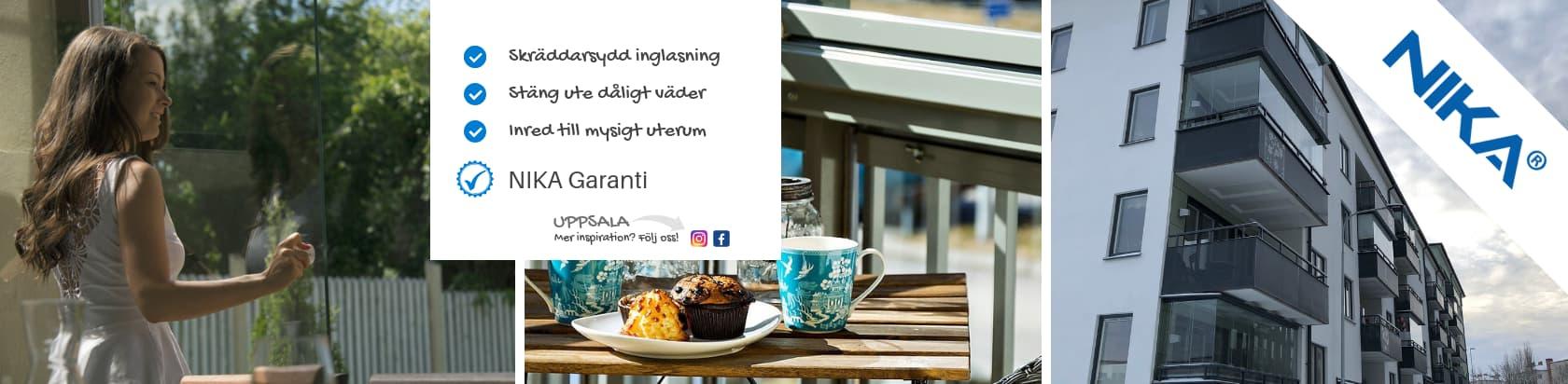 Uppsala balkonginglasningar - Skräddarsydda glaspartier Uppsala - NIKA Inglasning AB